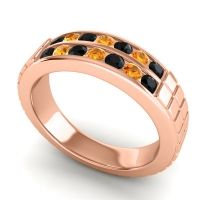 Black Onyx Polished Agkita Band with Citrine in 14K Rose Gold