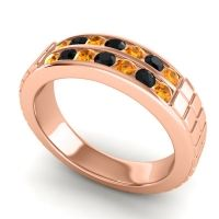 Citrine Polished Agkita Band with Black Onyx in 14K Rose Gold