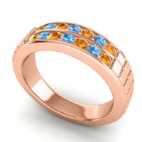 Citrine Polished Agkita Band with Swiss Blue Topaz in 14K Rose Gold