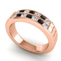 Diamond Polished Agkita Band with Black Onyx in 14K Rose Gold