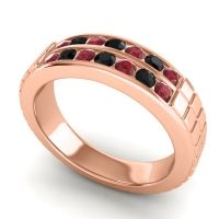 Ruby Polished Agkita Band with Black Onyx in 14K Rose Gold