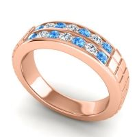 Swiss Blue Topaz Polished Agkita Band with Diamond in 14K Rose Gold