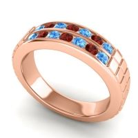 Swiss Blue Topaz Polished Agkita Band with Garnet in 18K Rose Gold