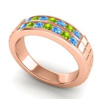 Swiss Blue Topaz Polished Agkita Band with Peridot in 18K Rose Gold