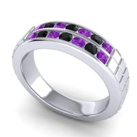 Amethyst Polished Agkita Band with Black Onyx in Palladium