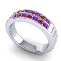 Amethyst Polished Agkita Band with Ruby in 18k White Gold