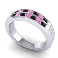 Black Onyx Polished Agkita Band with Pink Tourmaline in 18k White Gold