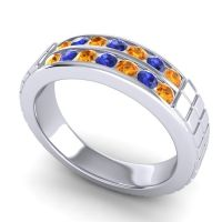 Citrine Polished Agkita Band with Blue Sapphire in 14k White Gold