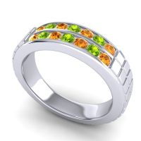Citrine Polished Agkita Band with Peridot in 18k White Gold