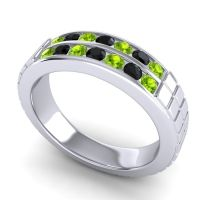 Peridot Polished Agkita Band with Black Onyx in Platinum