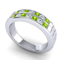 Peridot Polished Agkita Band with Diamond in 14k White Gold