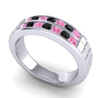 Pink Tourmaline Polished Agkita Band with Black Onyx in Platinum