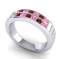 Pink Tourmaline Polished Agkita Band with Garnet in 18k White Gold