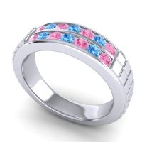 Pink Tourmaline Polished Agkita Band with Swiss Blue Topaz in Platinum