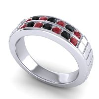 Ruby Polished Agkita Band with Black Onyx in 14k White Gold