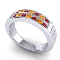 Ruby Polished Agkita Band with Citrine in 18k White Gold