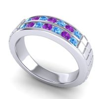 Swiss Blue Topaz Polished Agkita Band with Amethyst in Palladium