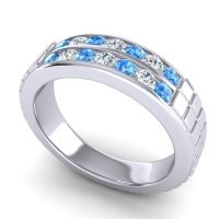 Polished Agkita Men's Swiss Blue Topaz Band with Diamond in Platinum