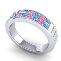 Swiss Blue Topaz Polished Agkita Band with Pink Tourmaline in 14k White Gold