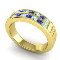 Aquamarine Polished Agkita Band with Blue Sapphire in 18k Yellow Gold