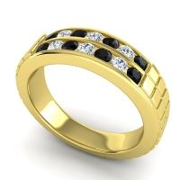 Black Onyx Polished Agkita Band with Diamond in 18k Yellow Gold