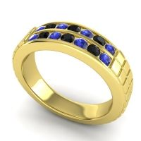 Blue Sapphire Polished Agkita Band with Black Onyx in 18k Yellow Gold