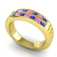 Blue Sapphire Polished Agkita Band with Pink Tourmaline in 18k Yellow Gold