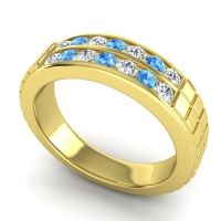 Diamond Polished Agkita Band with Swiss Blue Topaz in 18k Yellow Gold