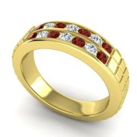 Garnet Polished Agkita Band with Diamond in 14k Yellow Gold