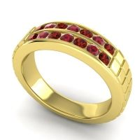 Garnet Polished Agkita Band with Ruby in 14k Yellow Gold