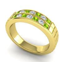 Peridot Polished Agkita Band with Diamond in 14k Yellow Gold