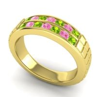 Peridot Polished Agkita Band with Pink Tourmaline in 14k Yellow Gold