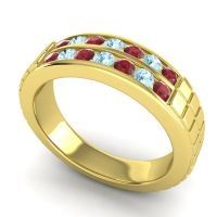 Ruby Polished Agkita Band with Aquamarine in 18k Yellow Gold