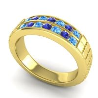 Swiss Blue Topaz Polished Agkita Band with Blue Sapphire in 18k Yellow Gold