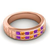 Amethyst Polished Agkita Band with Citrine in 18K Rose Gold