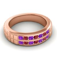 Amethyst Polished Agkita Band with Ruby in 18K Rose Gold