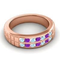 Aquamarine Polished Agkita Band with Amethyst in 14K Rose Gold