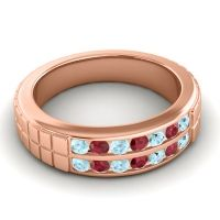 Aquamarine Polished Agkita Band with Ruby in 18K Rose Gold