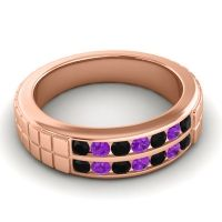 Black Onyx Polished Agkita Band with Amethyst in 14K Rose Gold