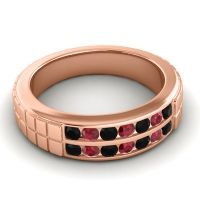 Black Onyx Polished Agkita Band with Ruby in 18K Rose Gold