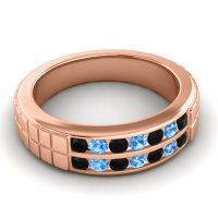 Black Onyx Polished Agkita Band with Swiss Blue Topaz in 14K Rose Gold