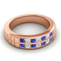 Polished Agkita Men's Blue Sapphire Band with Diamond in 14K Rose Gold