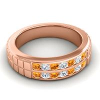 Polished Agkita Men's Citrine Band with Diamond in 14K Rose Gold