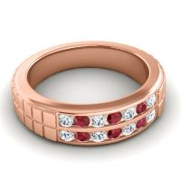Diamond Polished Agkita Band with Ruby in 14K Rose Gold