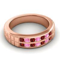Garnet Polished Agkita Band with Pink Tourmaline in 14K Rose Gold