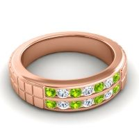 Peridot Polished Agkita Band with Diamond in 14K Rose Gold