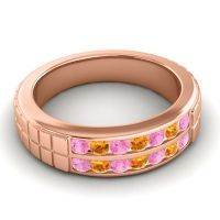 Pink Tourmaline Polished Agkita Band with Citrine in 14K Rose Gold