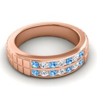 Swiss Blue Topaz Polished Agkita Band with Diamond in 18K Rose Gold