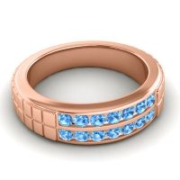 Polished Agkita Men's Swiss Blue Topaz Band in 14K Rose Gold