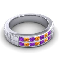 Amethyst Polished Agkita Band with Citrine in 14k White Gold